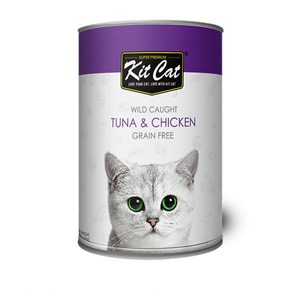 Kit Cat Atlantic Tuna With Tender Chicken Canned Cat Food 400g