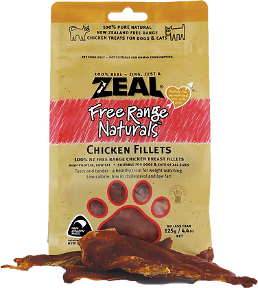 Zeal Chicken Fillet Cat & Dog Treats 125g