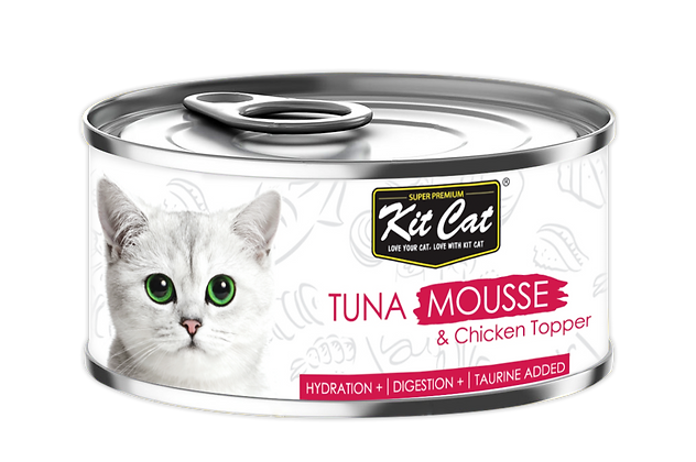Kit Cat Tuna Mousse With Chicken Toppers 80g