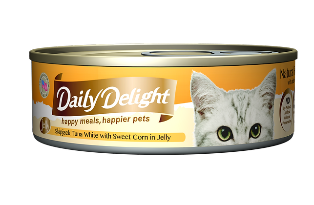 Daily Delight JELLY Skipjack Tuna White with Sweet Corn in Jelly Cat Canned Food