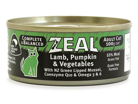 Zeal Lamb, Pumpkin & Vegetables Grain Free Cat Canned Food 100g