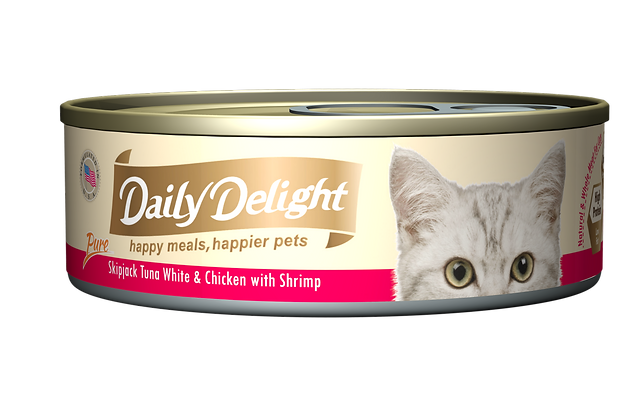 Daily Delight PURE Skipjack Tuna White & Chicken with Shrimp Cat Canned Food