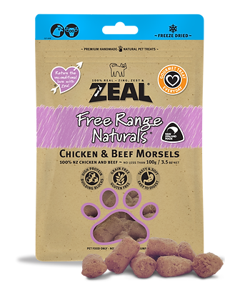 Zeal Chicken & Beef Morsels Freeze Dried Cat Treats 100g