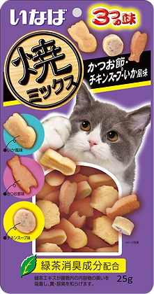 Ciao Soft Bits Mix - Tuna & Chicken Fillet Bonito,Chicken Soup& Squid Flavour25g