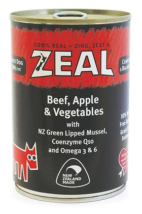 Zeal Beef, Apple & Vegetables Grain Free Dog Canned Food 390g