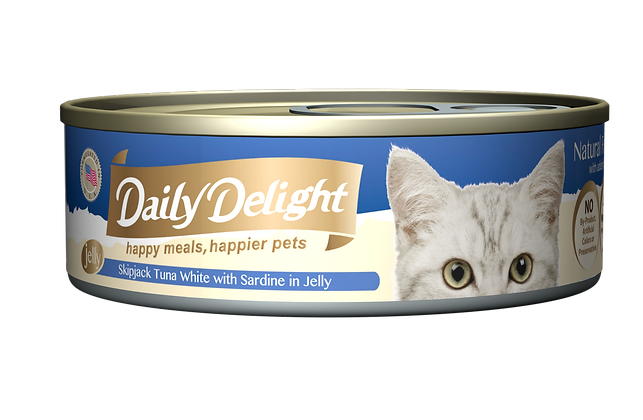Daily Delight JELLY Skipjack Tuna White with Sardine in Jelly Cat Canned Food
