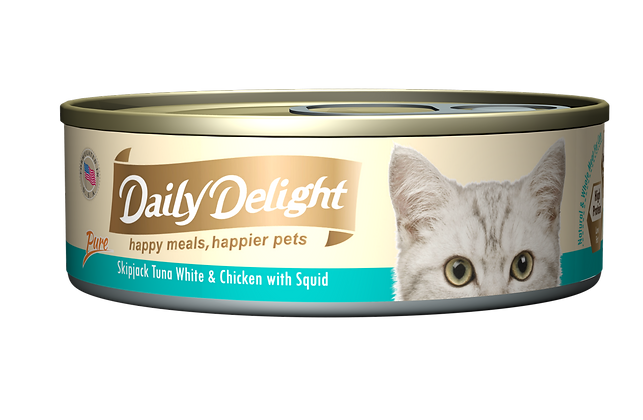 Daily Delight PURE Skipjack Tuna White & Chicken with Squid Cat Canned Food