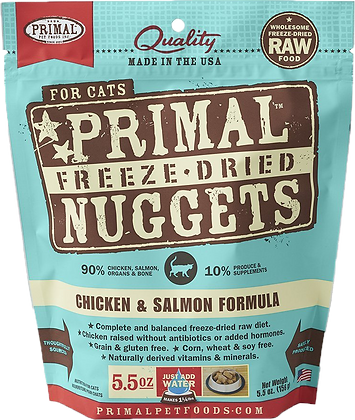 Primal Freeze Dried Feline Chicken & Salmon Nuggets (Cat) 5.5oz