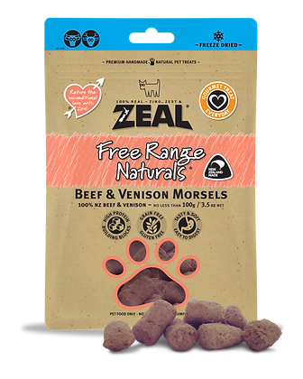 Zeal Beef & Venison Morsels Freeze Dried Dog Treats 100g