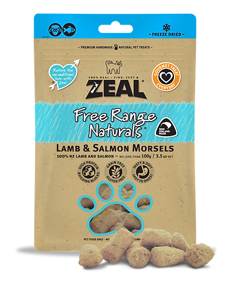 Zeal Lamb & Salmon Morsels Freeze Dried Cat Treats 100g
