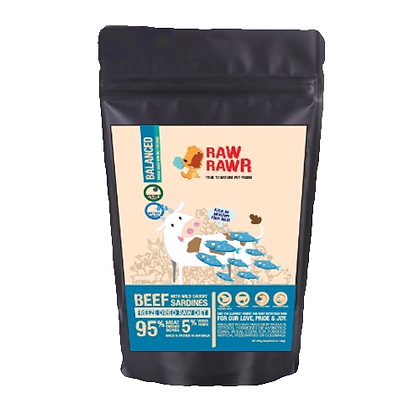 Raw Rawr Freeze Dried Beef & Sardine Balanced Diet 400g/1.2kg