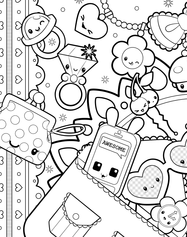 Cute Accessories Coloring Page