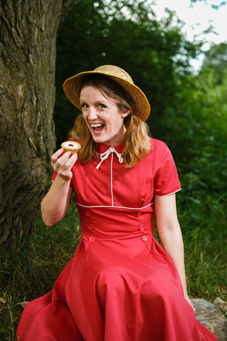 Liz Peters with a Cherry Bakewell