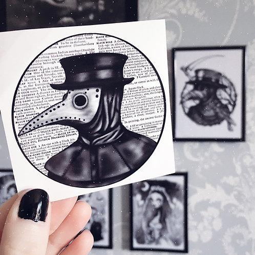 Plague Doctor (Text) Vinyl Sticker