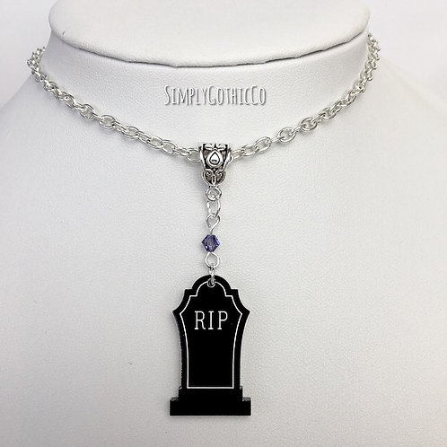Gothic Black RIP Tombstone Necklace