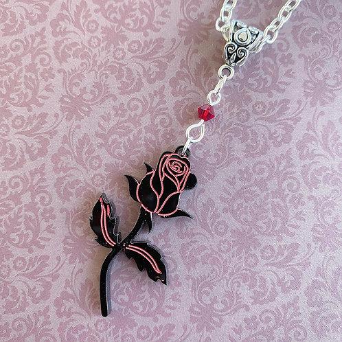 Gothic Black Rose Necklace