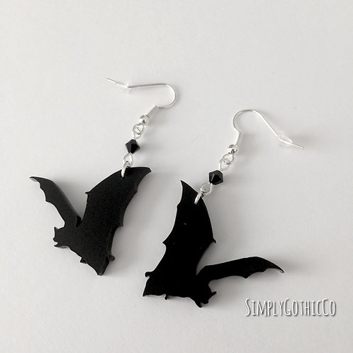 Gothic Flying Bat Earrings