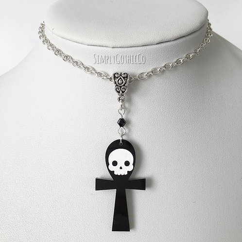 One Off - Gothic Skull Ankh Necklace