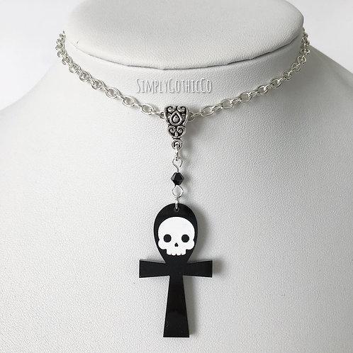 Gothic Skull Ankh Necklace