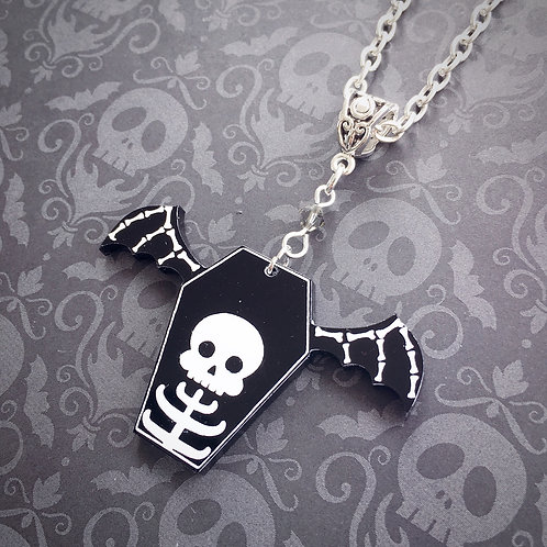 Subscription Box Special - Gothic Bone Wing Skeleton Coffin Necklace