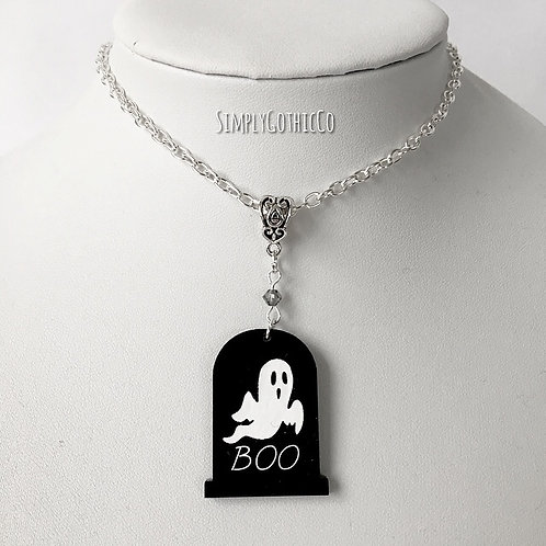 Gothic Ghostly Gravestone Necklace