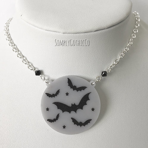 Gothic Batty Nightlife Necklace (Grey)