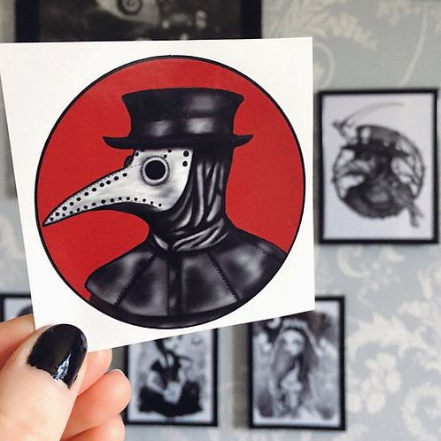 Plague Doctor (Red) Vinyl Sticker