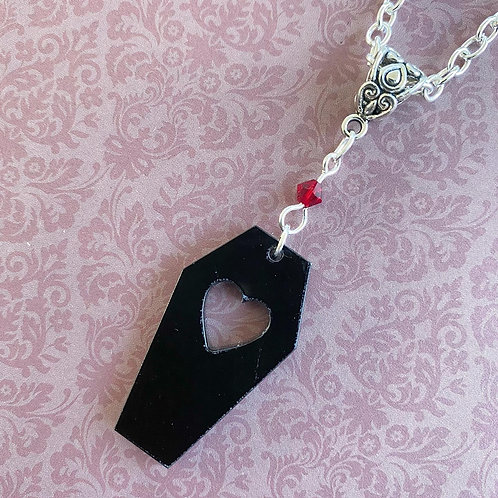 Gothic Black Heart Coffin Necklace