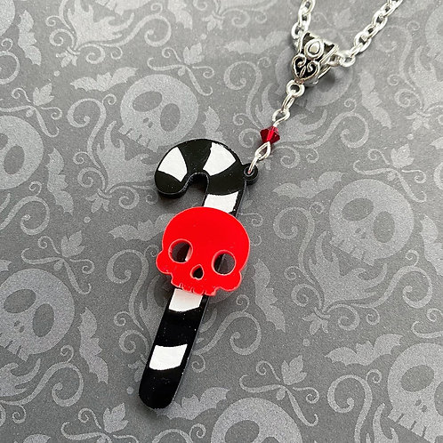Gothic Single Candy Cane Necklace- Red