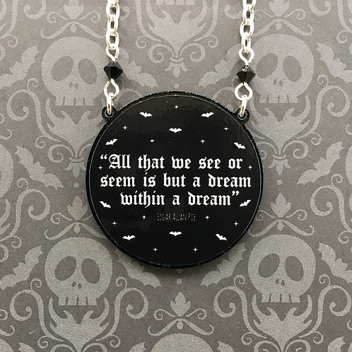 Gothic Edgar Allan Poe Quote Necklace