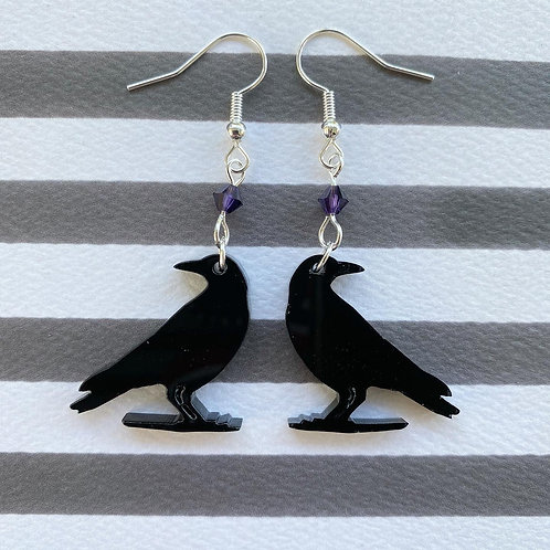 Gothic Crow Silhouette Earrings