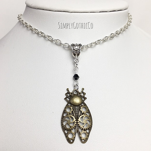 Gothic Steampunk Beetle Necklace