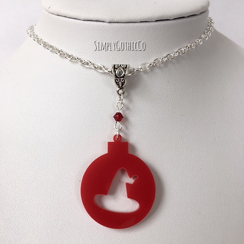 Gothic Witch Hat Bauble Necklace