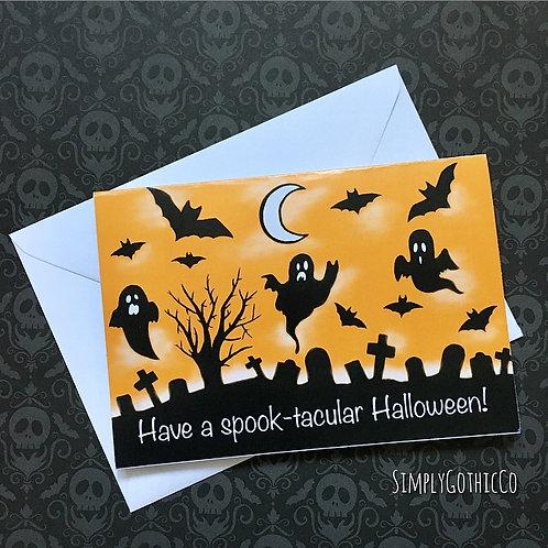 Gothic Halloween Graveyard Scene Card A6