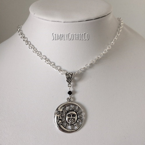 Gothic Moon Medallion Necklace