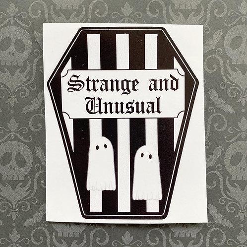 Gothic 'Strange and Unusual' Coffin Sticker