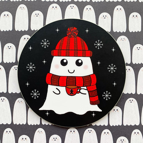 Gothic Winter Cosy Ghost Coaster