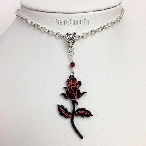 Gothic Black Rose Necklace