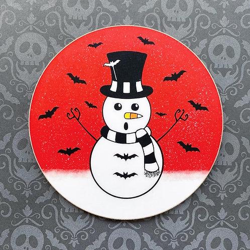Gothic Spooky Snowman Coaster
