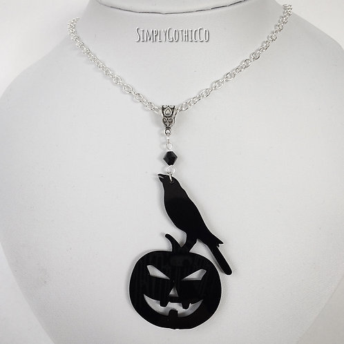 Gothic 'Raven on Pumpkin' Silhouette Necklace