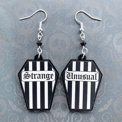Gothic 'Strange and Unusual' Striped Coffin Earrings