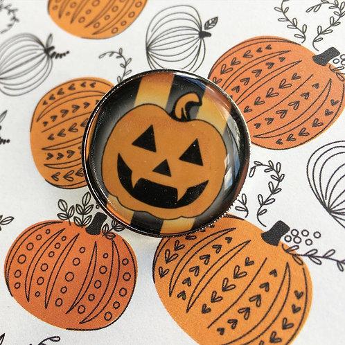 Gothic Striped Pumpkin Pin - Seconds