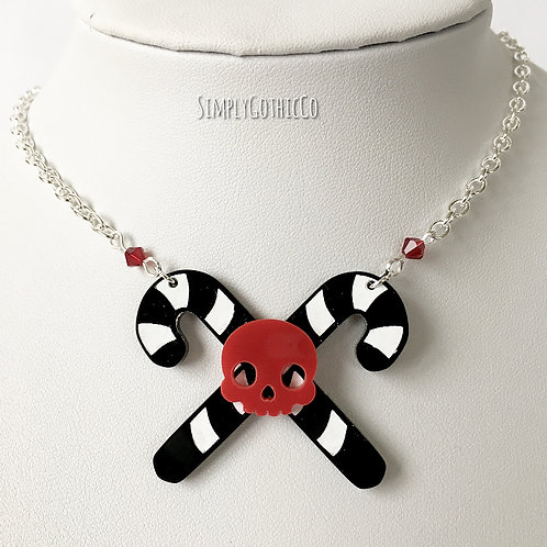 Gothic Crossed Candy Cane Necklace (red skull)