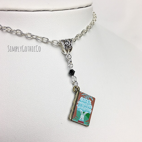 Gothic Alice in Wonderland Book Necklace - 1 Available