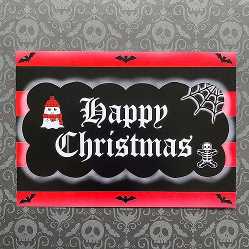 Gothic Happy Christmas Art Print