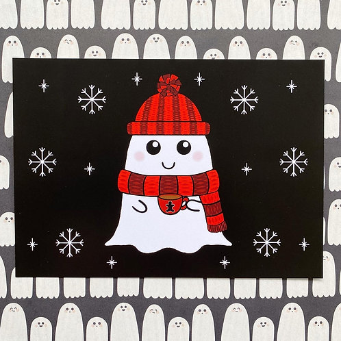 Gothic Winter Cosy Ghost Art Print