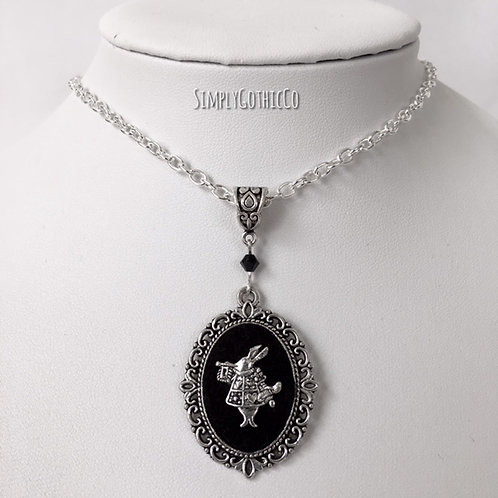 Gothic White Rabbit Victorian Cameo Necklace