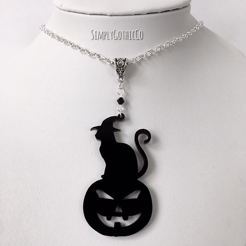 Gothic Cat on Pumpkin Silhouette Necklace - LAST ONE