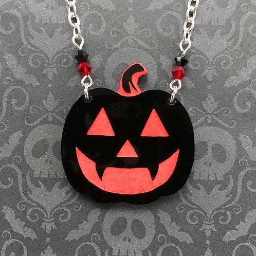 Gothic Black Pumpkin Necklace (Red)