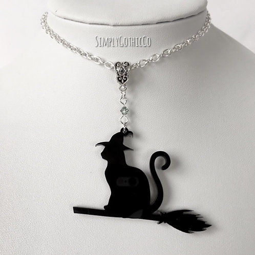 Gothic Witches Cat Necklace